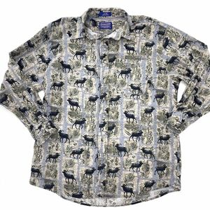Pendleton Flannel Button Up Shirt Moose Print L